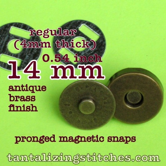 15 Sets 14 mm / 0.6 inch Magnetic Snap Closures (available in nickel, and antique brass)