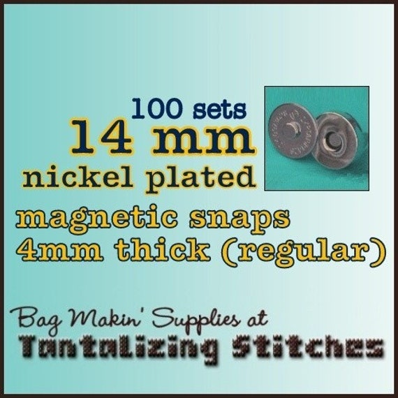 100 Sets Pronged 14 mm Magnetic Snap Closures (available in nickel, and antique brass)