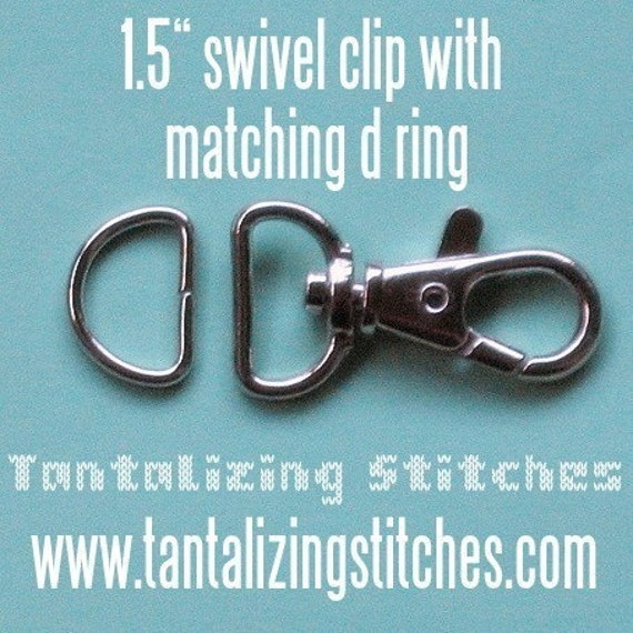 15 sets 1.5 Inch Swivel Clips with Matching D Ring (available in antique brass and nickel finish)