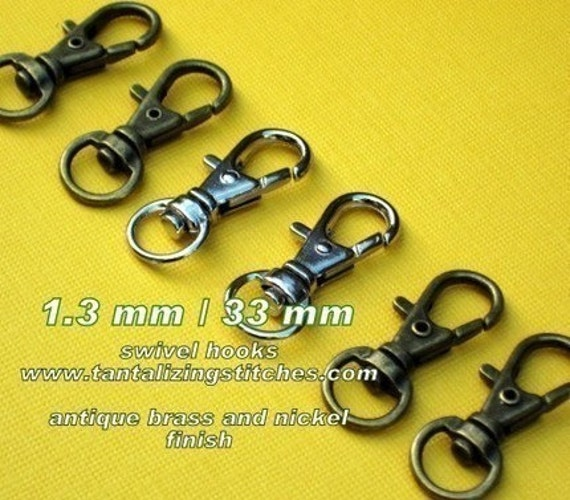 5 Pieces Lobster Swivel Clasps - 1.3 INCH - 34 mm (available in nickel, antique brass, copper, and antique copper)