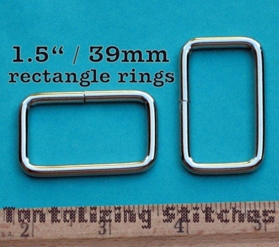 100 pieces 1.5 Inch / 39mm Metal Wire-Formed Rectangle Rings (available in nickel and antique brass finish)