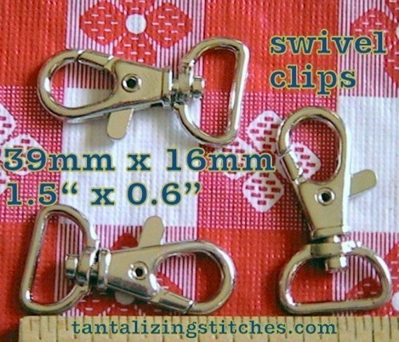 15 Pieces Lobster Swivel Clasps - 1.5 inch long / 0.5 inch webbing capable (available in antique brass and nickel finish)