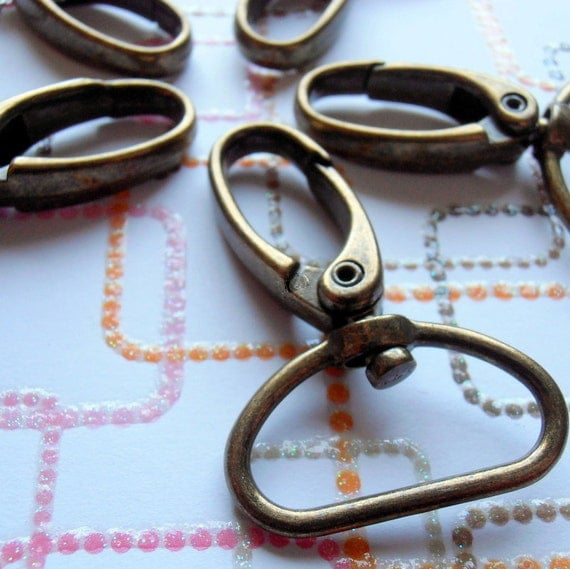 5 Pieces Swivel Spring Hooks - 2 inch long / 1 inch webbing capable (available in gold color, nickel, and antique brass finish)