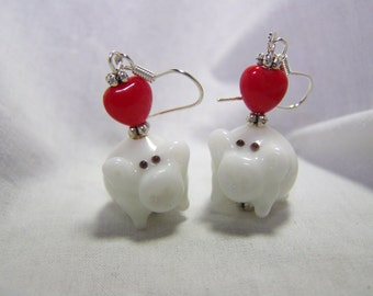 This Little Piggy-Adorable White Pigs-Dangle Earrings