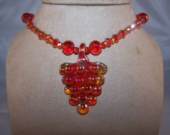 Sparkling Red Wine-Luscious Grapes with Crystal Blitz Necklace