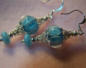LIQUID BLUE 1 3/4 inch Dangle Earrings-Silver-FANTASTIC