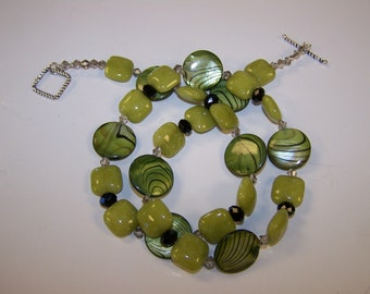 Mother of Pearl with Jade and Crystals Necklace