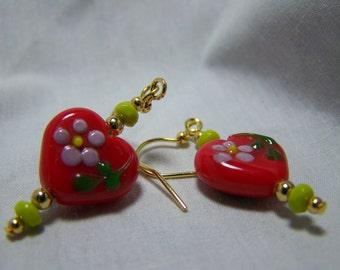 SUMMER LOVE-Adorable Heart Lampwork Dangle Earrings