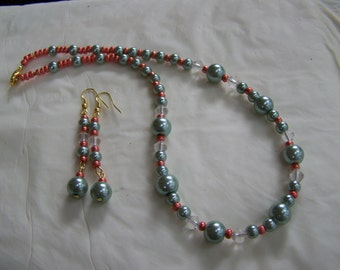 Teal and Copper necklace earrings glass pearl crystal silver