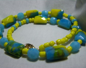 BRIGHT YELLOW and TURQUOISE Marbled Swirl 16 inch Necklace