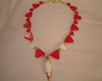 RED and WHITE PYRAMID Beads W/Pendant Necklace-Awsome Look