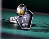 Golden Rutilated Quartz Herkimer Diamond Quartz Sterling Silver Ring
