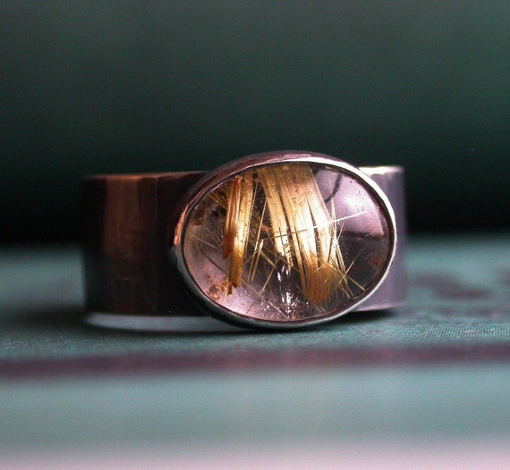 Golden Rutilated Quartz Sterling Silver Ring