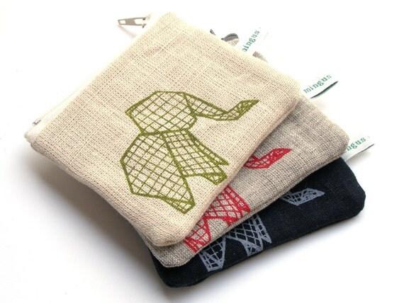 Origami Elephant Organic Purse