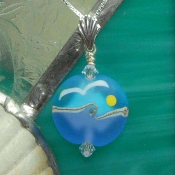 Beach Wings - American Handmade Lampwork Pendant on Sterling Silver Chain