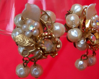 Stunning Vintage Pearly Rhinestone Clip on Earrings-So Miriam Haskellish