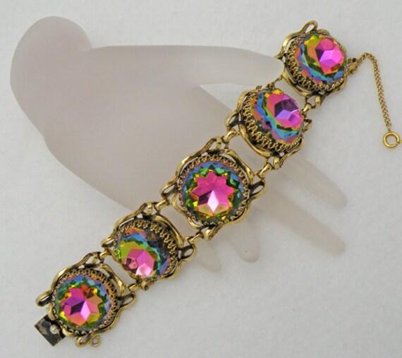 RESERVED for PINKSANDY  SALE Vintage Elsa Schiaparelli Watermelon Tourmaline Rhinestone Bracelet