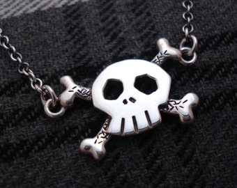 Skull and crossbones sterling silver necklace