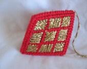 Christmas Ornament Three Sided Diamond Shape   #C-154