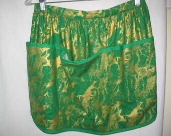 Skirt Apron in Green & Gold   #2041