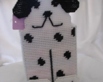 Tissue Box Cover of Black and White Dog   #806