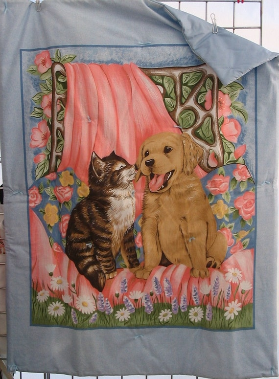 Child's Quilt and Pillow Set with Dogs & Cats  #506