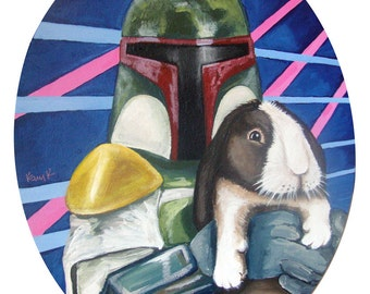 Digital Print from original Acrylic painting 8x9.5 of Boba Fett with Brown and White Bunny