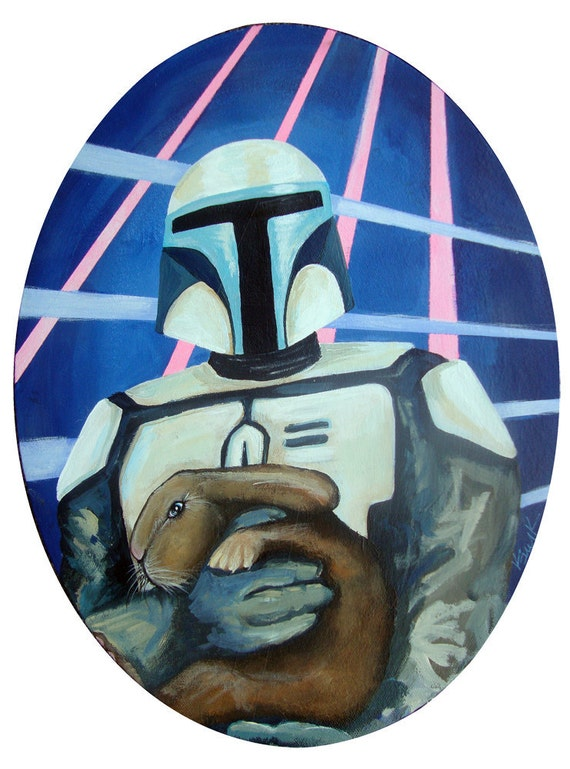 Digital Print of Jango Fett - Style Clone Trooper Bounty Hunter Custom with Brown bunny with Whiskers 8 x10.5