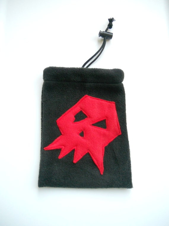 Warhammer 40K Ork Goff Dice Bag: Black Pouch with Red Skull