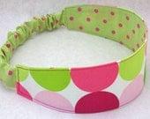 Womens Headband, Hair Accessory, Preppy Dots, Pink and Green, Elastic Head Band, Adult Headband, Reversible Hair Band, Yoga Headband
