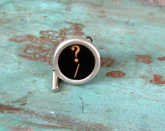 Vintage  Typewriter key TIE TACK  Question Mark