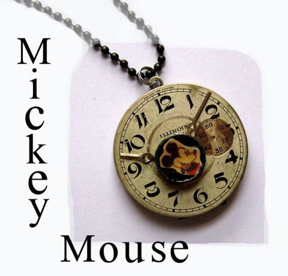Mickey Mouse Industrial Locket  Necklace Antique pocket watch face