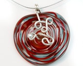 Wire Wrapped Red Lampwork