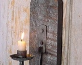 Rustic Candle Sconce, Wall Candle Sconce, Early Lighting, Industrial Warehouse Decor
