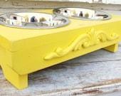 Dog Feeder Cat Bowl Holder Elevated Feeding Stand Lemon Yellow Cottage Modern