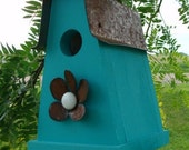 Rustic Blue Birdhouse Outdoor Bird House Cottage Garden Decor