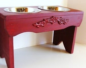 Large Dog Feeder Elevated Bowl Holder Raised Dog Bowls Feeding Stand Old Red Custom
