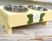 Yellow Cat Bowl. Dog Bowl Holder. Dog Feeder. Raised Feeder. Elevated Dog Feeder. Cottage Beach Pet Decor