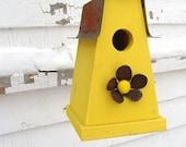 Rusty Metal Flower Bird House Home Garden Art Industrial Chic Lemon Yellow Reclaimed Birdhouse