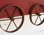 Planter Box Wall Hanging Wood Wagon Christmas Wall Decor Rustic Forged Ironrer Wheels Red Finish