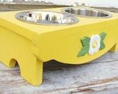 Dog Feeder Elevated Pet Bowl Holder Lemon Yellow Wood Flower Accent Custom