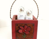 Rustic Wood Box Tissue Box  Metal Flower Kitchen Table Napkin Holder Storage Junk Box Office Supplies Red