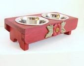 Elevated Dog Feeder Cat Feeder Pet Feeding Stand Pet Furniture Bowl Holder, Old Red, Custom
