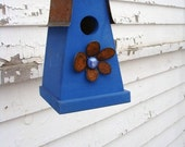 Rustic Birdhouse Recycled Bird House Decorative Birdhouse Cottage Bird House Metal Flower Cobalt Blue