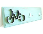 Key Hooks Organizer Office Wall Decor Metal Bike Art  Hook Rack Aqua Blue