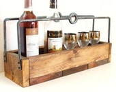 Reclaimed Wood Tray Rustic Wine Storage Kitchen Decor Industrial Woodland