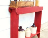 Console Table, Rustic Wood Table, Entryway Table, Narrow Table, Painted Furniture, Red Shabby Cottage Chic