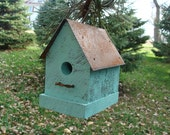 Rustic Aqua Birdhouse Industrial Chic & Cottage Beach Sweet Garden Home Decor