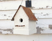 Rustic White French Country Birdhouse Simple & Sweet Garden Wedding Home Decor