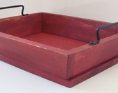 Serving Tray, Ottoman Tray, Breakfast in Bed Tray, Coffee Table Tray, Hand Forged Iron Handles Red Custom